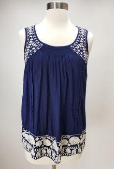 Calypso St. Barth Navy Embroidered Sleeveless Top Size XS 100% Cotton Boho  Chic   6ba53dd201620