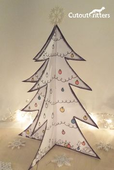 Christmas Tree Free Activity , download, print cutout  cutoutcritters.com Free Activities, Paper Crafts, Christmas Tree, Teal Christmas Tree, Tissue Paper Crafts, Paper Craft Work, Papercraft, Xmas Trees, Christmas Trees