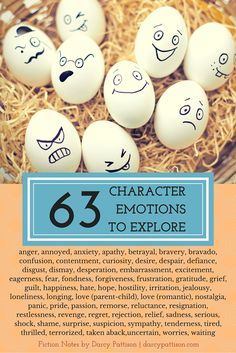 When writing your novel don't forget to explore your character's emotions. Here are 63 character emotions to explore. Writing Poetry, Writing Quotes, Fiction Writing, Writing Advice, Writing Resources, Writing Help, Writing Skills, Writing A Book, Writing Prompts