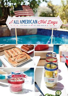 County fair inspired 4th of July party hot dog bar featuring free printables from @Hostess with the Mostess