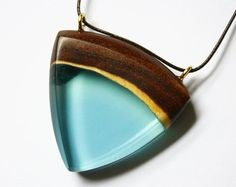 Large triangle shaped pendant / necklace handmade from Australian wood and turquoise blue resin