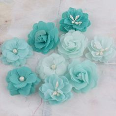 Teal fabric flowers