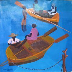 "HAITIAN ART PAINTING BY FAMOUS MASTER CALIXTE HENRY ""FISHING"" 24""x 24"" #Primitive Haitian Art, Vintage Boats, Boat Art, Primitive, Folk, Landscapes, Fishing, Paintings, Island"