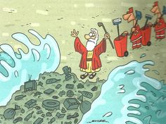 If Moses could turn sea into dry land. Today he'd also have to make waste disappear! Meaningful Pictures, Satirical Illustrations, Save Our Earth, Ecole Art, Social Art, Political Art, Our Planet, Global Warming, Mother Earth