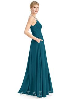 LOVE this new color! Ink blue. AND POCKETS! :)    Azazie Bridesmaid Dress - Cecilia in Chiffon.