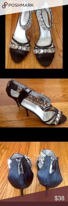 "Adrienne Vittadini black satin,rhinestone sandals Rhinestones orotund your ankles make your legs thinner and longer! ❤️ these sandals for its beauty and comfort! Heels are high enough to be elegant and comfortable!  I wore them only ones! ❤️ Zipper is on the back. Size is 8.5 M. ❤️Heels are 4"" high! ❤️ Adrienne Vittadini Shoes Heels"