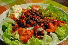 Burger Salad Shared on https://www.facebook.com/LowCarbZen | #LowCarb #Salad #Lunch
