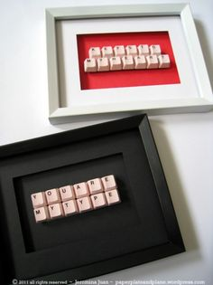 Upcycle old keyboard into art...by buying a cheap keyboard at your thrift store. Pop off the keys and glue them for display purposes.