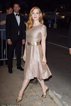 Loving life: Jessica Chastain was able to let her hair down as she attended the Vanity Fair Chanel dinner at Tetou restaurant on Wednesday