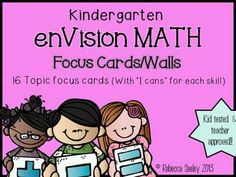 """Focus Wall and Essential Questions for enVisions Math: Each topic has an """"I can"""" for each skill covered in that topic. Kid friendly language and great for focus walls! For Pearson's 2012 enVisions Math curriculum. Envision Math Kindergarten, Kindergarten Anchor Charts, Kindergarten Math Activities, Numbers Kindergarten, Preschool Math, Teaching Math, Math Resources, Kindergarten Rocks, Math 2"""