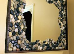 Handmade Mirror Ornaments Coral Stone by Kent Hatcher and Loda Hatcher - The amazing thing when we try to put some gravel orname on some home accessories, but it is not uncommon in the encounter at or Wood Framed Mirror, Diy Mirror, Mirror Makeover, Oval Mirror, Cadre Diy, Mirror Ornaments, Handmade Mirrors, Ideas Hogar, Diy Furniture