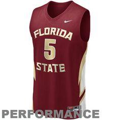 Nike Florida State Seminoles (FSU) #5 Swingman Twill Replica Basketball Jersey - Garnet