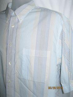 Mens ROUNDTREE & YORKE Dress Shirt White Blue Gold Black Short Sleeve Cotton XL #roundtreeyorke
