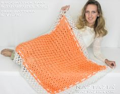 DIY Free Pattern Broomstick Lace Crochet Blanket Afghan Throw Lapghan Lapgan Baby Blanket Quilt with Solomons Knot Edging with YouTube Help Tutorial Video by Naztazia