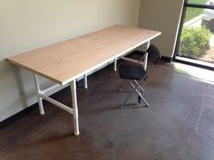 pvc desk // i've been toying with making my one super long desk... i think this is swaying me over to actually doing it
