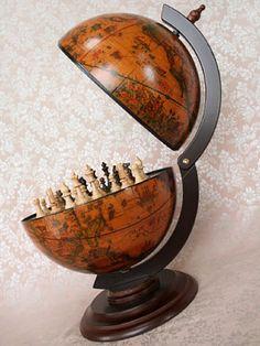 Chess board globe.