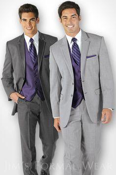 Jim's Formal Wear grey tuxedos.
