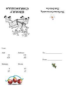 Christmas Cards (A) Christmas Math Worksheets, Math Drills, Christmas Cards, Christmas E Cards, Xmas Cards, Christmas Letters, Merry Christmas Card, Christmas Card Sayings