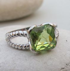 Lime Green Quartz Ring by Belesas. Available in a variety of gemstone and finish.