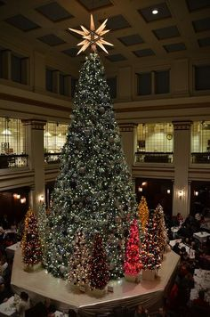 нσ нσ нσ мεяяү cняιsтмαs тяεε 。* 。Christmas Tree in the Walnut Room at Macy's in Chicago