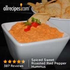 Spiced Sweet Roasted Red Pepper Hummus from Allrecipes.com #myplate #protein #veggies