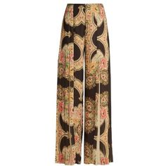 Vilshenko Elayna floral-print wide-leg pleated trousers (€510) ❤ liked on Polyvore featuring pants, black print, print pants, pleated pants, high-waist trousers, high rise pants and high-waisted pants