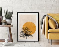 This Tree Silhouette Sun Print is available as or Prints, or we can frame them for you - with Free UK Delivery Orange Wall Art, Yellow Art, Orange Walls, Nordic Art, Nordic Style, Simple Prints, Tree Silhouette, Tree Print, Minimalist Art
