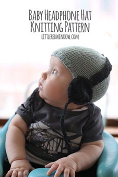The Baby Headphone Hat Knitting Pattern is a quick and easy knit and will get your little one ready to rock! This cute knitting pattern tutorial includes tons of photos to help you get started! Knitting For Kids, Baby Knitting Patterns, Loom Knitting, Baby Patterns, Free Knitting, Knitting Projects, Knit Or Crochet, Crochet Baby, How To Purl Knit