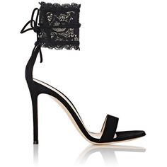 Gianvito Rossi Women's Ankle-Cuff Sandals ($975) ❤ liked on Polyvore featuring shoes, sandals, heels, black, black heel sandals, heeled sandals, high heels stilettos, black shoes and floral sandals