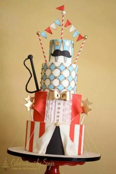 Birthday Cakes by Charity Fent Cake Design. Custom cakes for to birthday. There is not a better way to celebrate than with a beautiful cake. Circus Theme Cakes, Carnival Cakes, Themed Cakes, Circus Party, Luau Cakes, Circus Wedding, 13 Birthday Cake, Carnival Birthday, Karate Birthday
