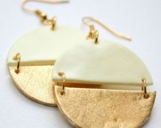 Pale yellow and gold...the perfect match! Earrings available in different colours and finishes from Our pretty Universe.