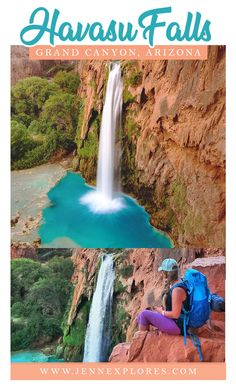 Hiking into Havasu Falls: what to pack, how to visit all of the waterfalls, how to get to the trailhead, campgrounds, permits and more! #havasu #havasufalls #havasupai