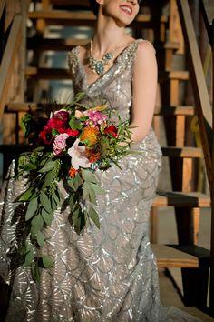 Vintage sequins wedding dress ⎪Amanda Megan Miller Photography ⎪ see more on:  http://burnettsboards.com/2015/08/boho-wedding-vintage-chicago-venue/