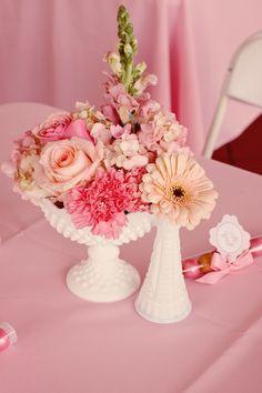 Floral Centerpieces, Floral Arrangements, Christmas Dinner Centerpieces, Baby Girl Sprinkle, Bridal Shower, Baby Shower, Floral Bouquets, Milk Glass, Spring Flowers