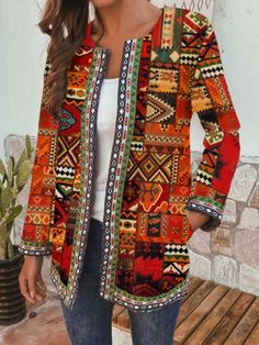 Ethnic Style Floral Print Plus Size Jackets - Newchic Plus Size Outerwear Mobile Plus Size Outerwear, Plus Size Coats, Themed Outfits, Chic Outfits, Pants For Women, Jackets For Women, Clothes For Women, Style Ethnique, Ethnic Print