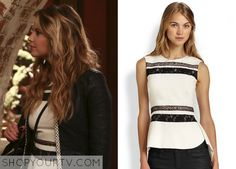 Hanna Marin (Ashley Benson) wears this lace panel peplum top in this upcoming episode of Ravenswood. It is the BCBGMAXAZRIA Lace-Trim Split-Back Peplum Top. Buy it HERE for $89.99, or HERE for $178 All Outfits from Ravenswood Other Outfits from … Continue reading →