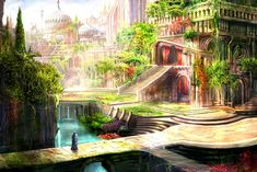 Hanging Gardens of Babylon - Reproduction -more bathroom mural inspiration.