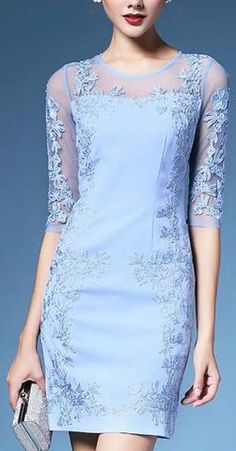 Floral Embroidered Shift Dress-Blue