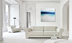 Large Abstract Painting on Canvas Modern Acrylic Skyline- 40x40- Blues, White, G modern originals and limited editions