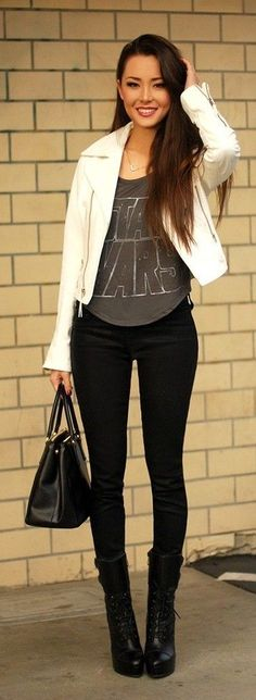 Star Wars shirt, black pants and white leather coat