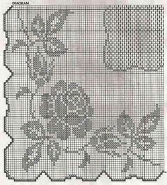 Crochet filet pattern square table cloth with roses - free cross stitch patterns crochet knitting amigurumi Filet Crochet Charts, Crochet Cross, Crochet Diagram, Crochet Home, Crochet Motif, Crochet Doilies, Crochet Patterns, Crochet Baby, Crochet Mermaid Tail