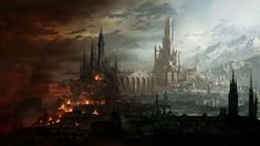 Wallpaper Blink - Fantasy City Wallpaper HD 11 - 1920 X 1080 for Android, Windows, Mac and Xbox Fantasy City, Fantasy Castle, Fantasy World, Fantasy Places, High Fantasy, Forgotten Realms, Matte Painting, Watercolor Paintings, Art Et Illustration