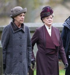 They are back: Dame Maggie Smith and Penelope Wilton were seen filming series 5 of Downton Abbey