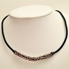 Ladies or mens viking knit and leather necklace by DonnaDStore