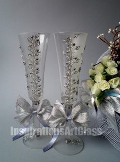 Stylish Silver Champagne Flutes, Hand Painted Wedding Glasses, Romantic Style, Wine Glasses with Leaves and flowers, Set of 2