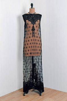 ~Flapper Dress: 1920's, sheer Chantilly mixed lace, heavily-appliqued sequin Art Deco Bodice, jet-beaded full-length scallop-slit skirt~