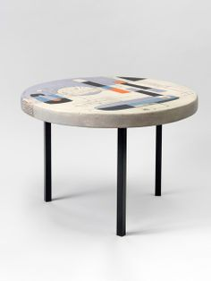 André Aleth Masson; Enameled Ceramic and Metal Coffee Table, 1958.