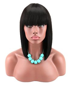 Kalyss Women's Yaki Synthetic Full Hair Wig Heat Resistant Short Straight Black Bob Wig For Women