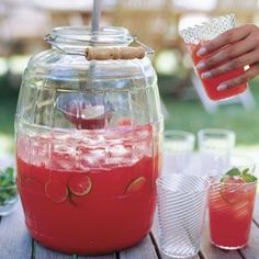 Mexican agua fresca (lightly sweetened, crushed fresh fruit stirred together with a little water) is a refreshing alternative to iced tea or lemonade. Mix all the ingredients in a large, widemouthed jar and set out a ladle alongside, then let guests serve themselves.