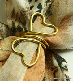 Wedding Napkin Ring, Scarf Slide, Scarf Ring - Heart Shaped Ends - Dining Table Decor, Wedding Table Decor, Bride Gift, Brides Maids Gift